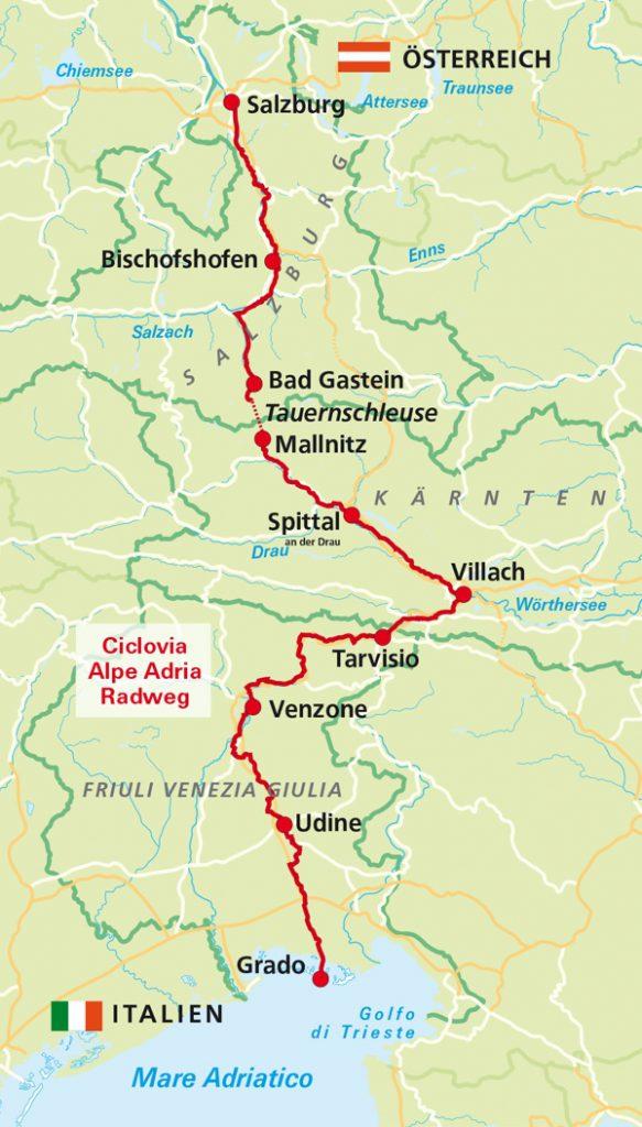 kaart Alpe Adria Radweg