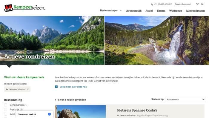 ACSI kampeerreizen website