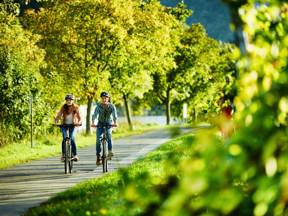 2 mensen fietsen langs de Moezel