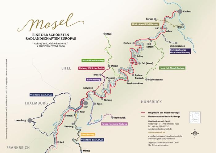 kaart van de Moezel fietsroute