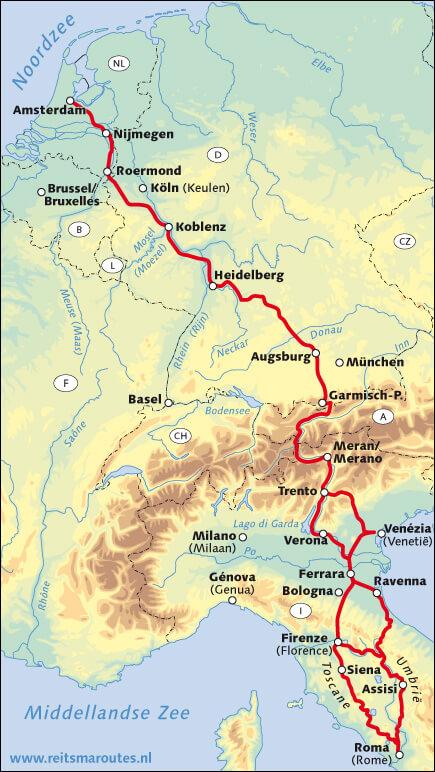 reitsma route naar rome overzichtskaart