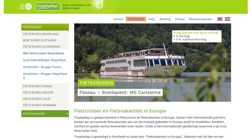 travelydays fietscruises website