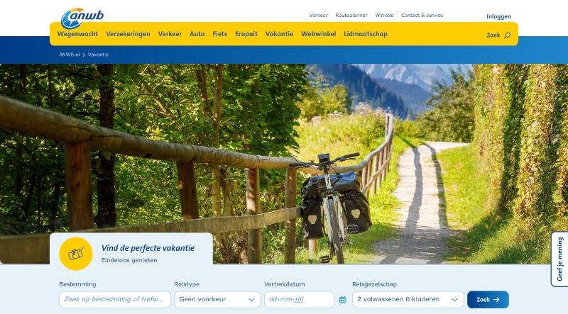 ANWB Fietsvakanties website