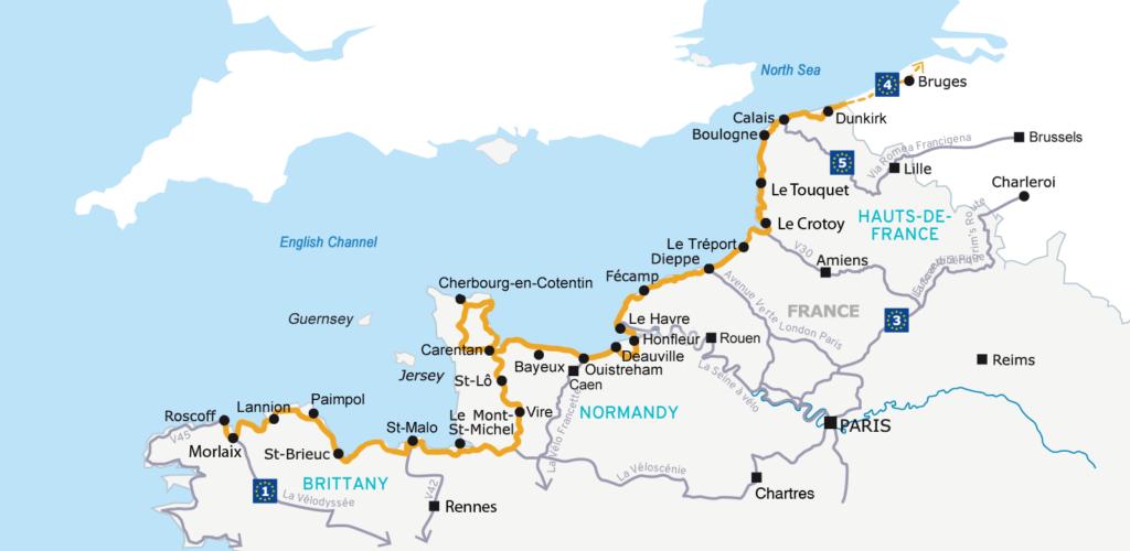 kaart Velomaritime route Duinkerken naar Roscoff