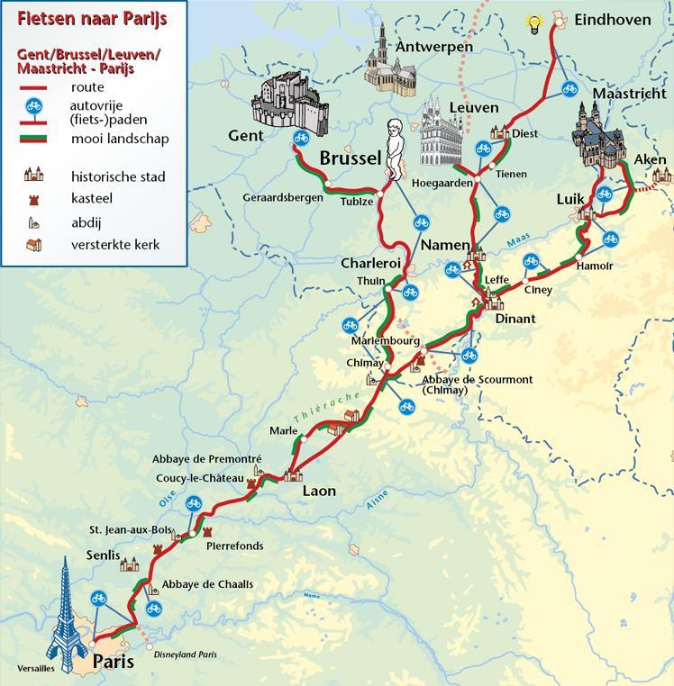 fietsen naar Parijs kaart route